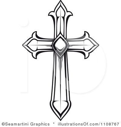 400x420 White Cross Clipart
