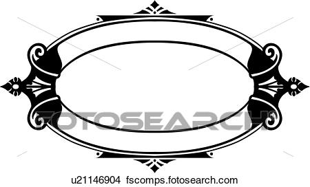 450x272 Clipart Of , Blank, Border, Fancy, Frame, Oval, Traditional