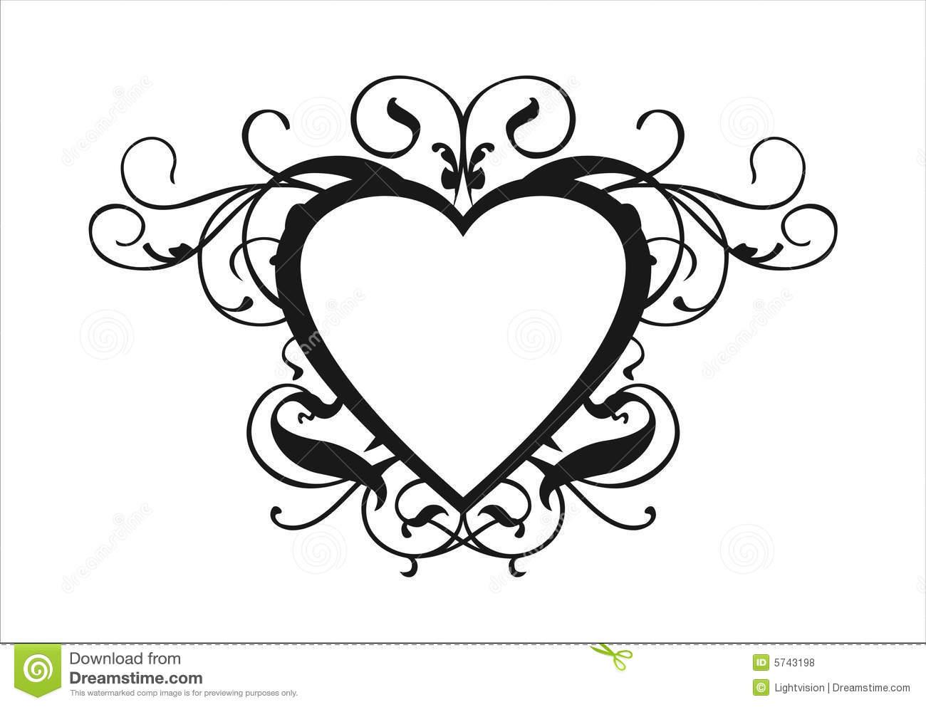 1300x993 Classic Clipart Heart Scroll