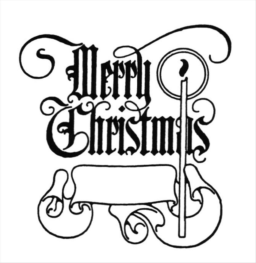 835x857 Fancy Merry Christmas Clip Art Words Black And White