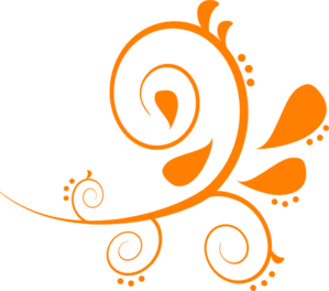 299x264 Orange Fancy Swirl Clip Art