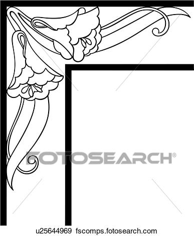 387x470 Clip Art Of , Border, Corner, Fancy, Floral, Frame, Morning Glory