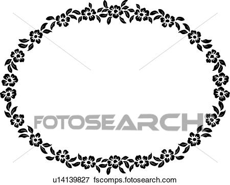 450x363 Clip Art Of , Border, Fancy, Floral, Folk Art, Frame, Oval