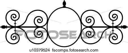 450x189 Clipart Of , Border, Cornice, Fancy, Frame, Gate, Iron, Ironwork