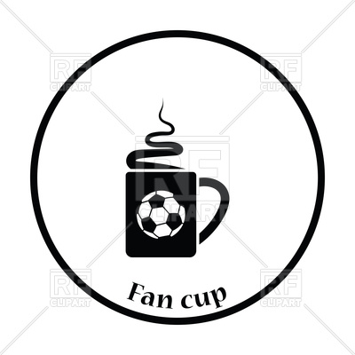 400x400 Icon Of Football Fans Coffee Cup With Smoke Royalty Free Vector