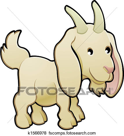 428x470 Clip Art Of Cute Goat Farm Animal Vector Illustration K1566978