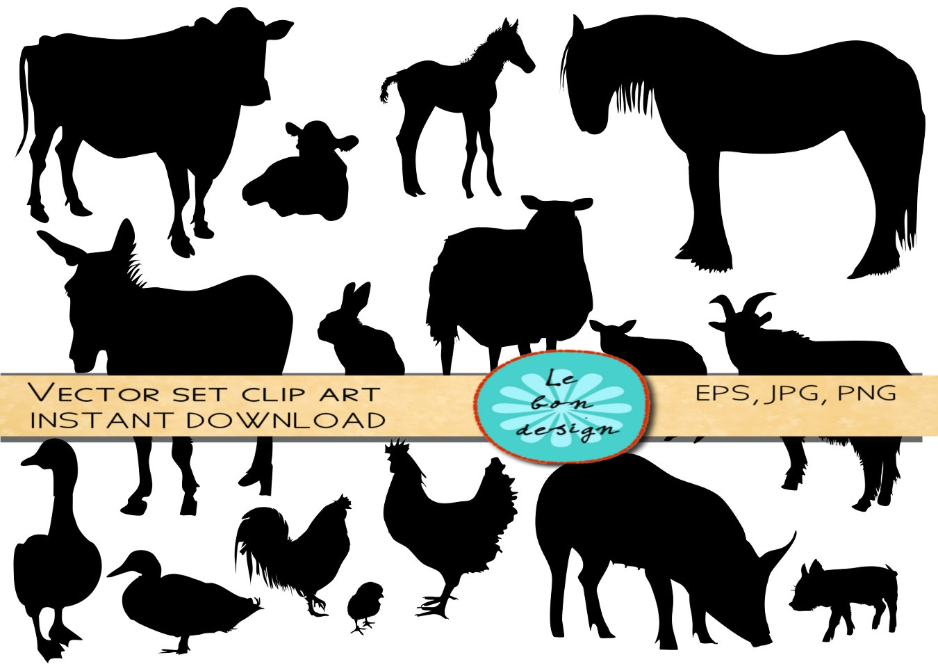 1350x955 Farm Animals Silhouette Clip Art Vector Commercial Use