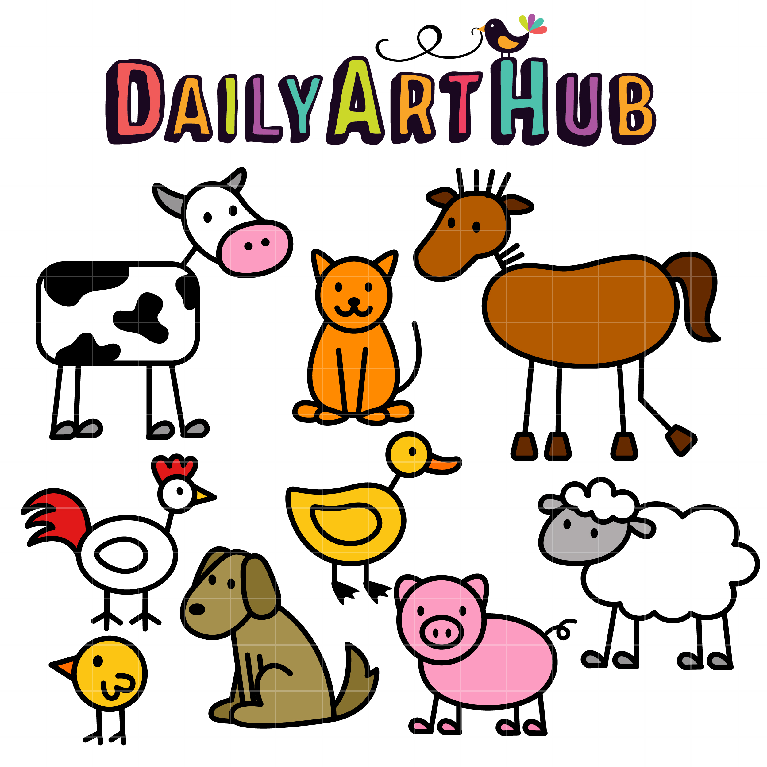 2500x2500 Stick Farm Animals Clip Art Set Slegs Hond Knk Kan Verwerk Word