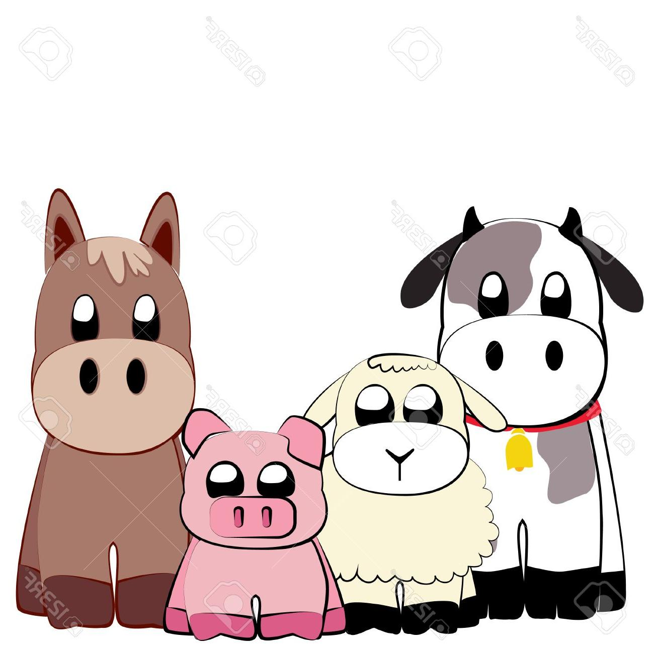 1300x1295 Best Hd Cute Farm Animals Illustration Stock Vector Cartoon Animal Cdr