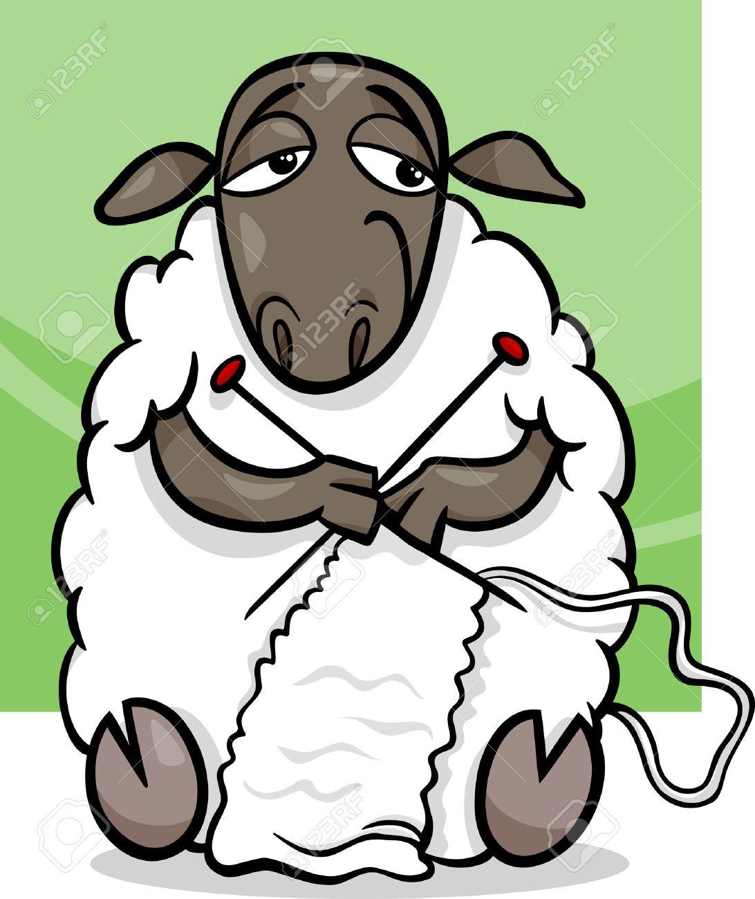 1092x1300 Cartoon Illustration Of Funny Sheep Farm Animal Knitting Royalty