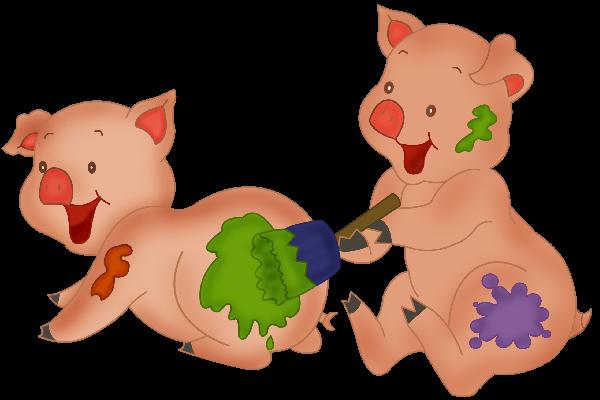 600x400 Cute Cartoon Pigs