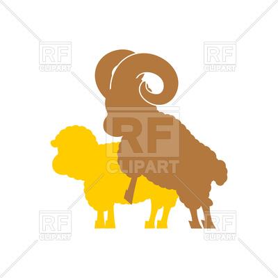 400x400 Sheep Sex. Farm Animal Intercourse. Royalty Free Vector Clip Art