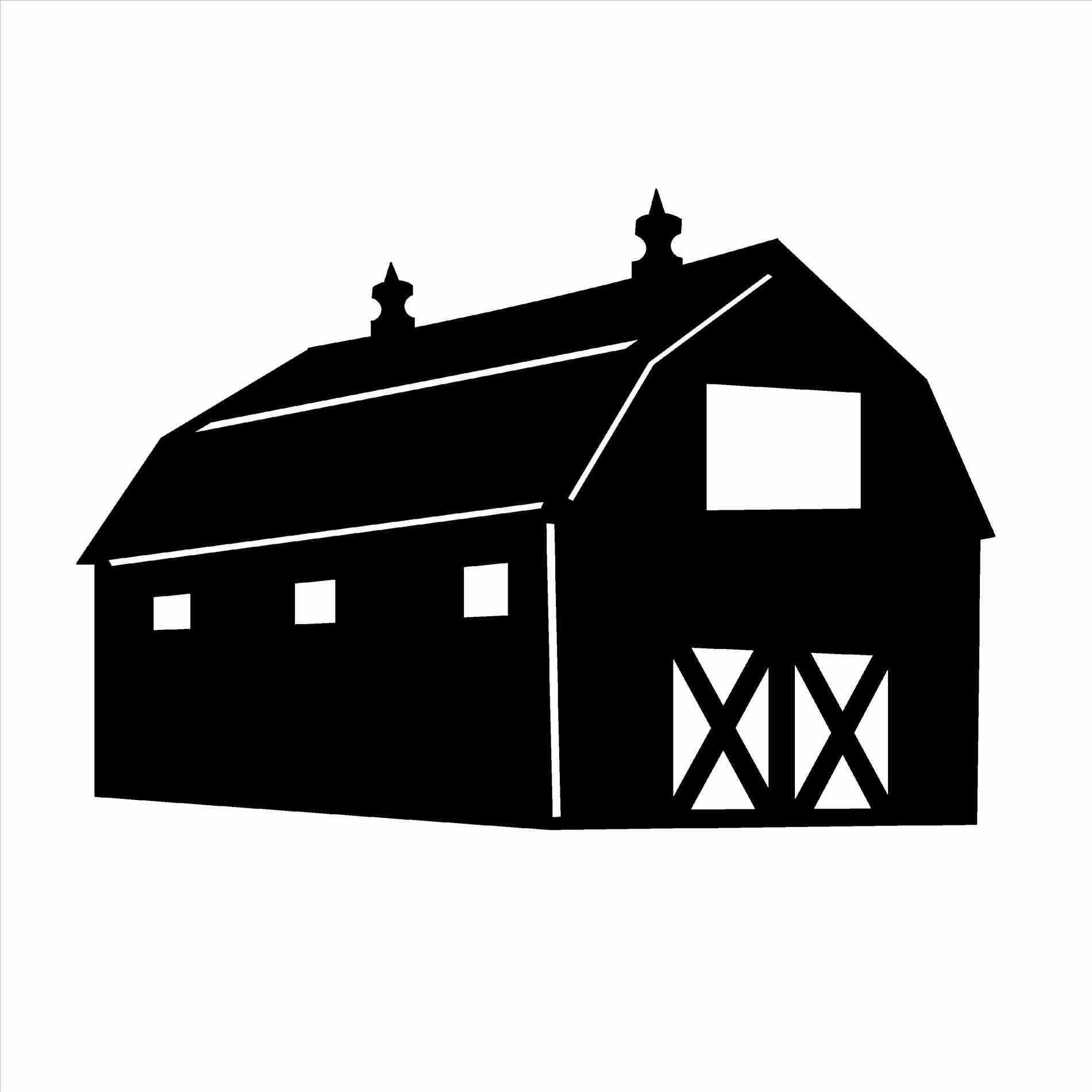 1900x1900 House Barn Clip Art Library Silhouette Pencil In Color Farm