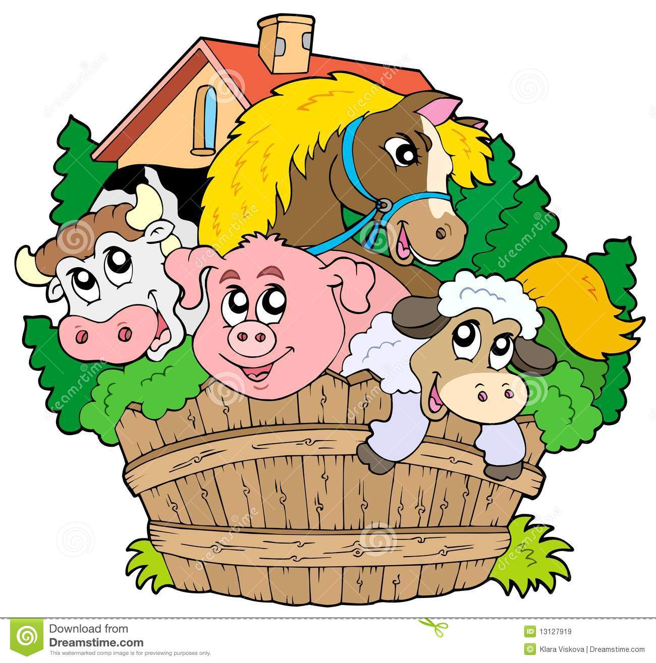 1300x1315 Farm Animals Clipart Down On Farm