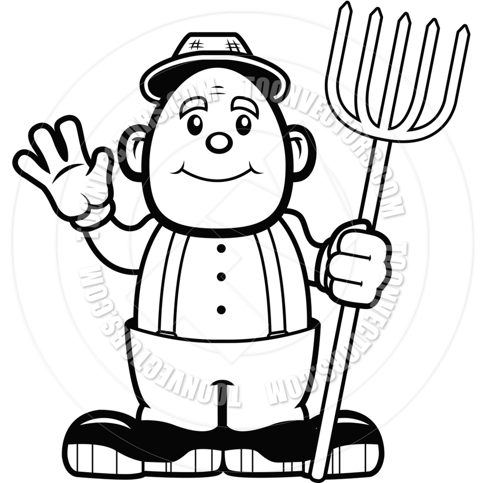 940x940 Farmer Waving (Black And White Line Art) By Cory Thoman Toon