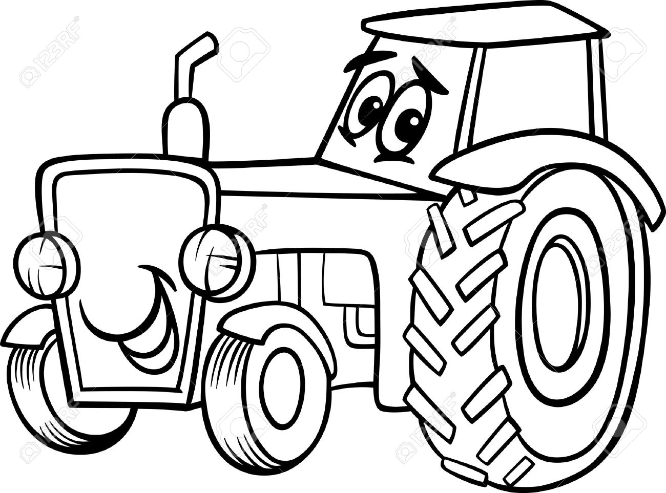 1300x963 Black And White Cartoon Illustration Of Funny Farm Tractor Vehicle