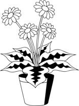 156x210 Free Black And White Plants Outline Clipart