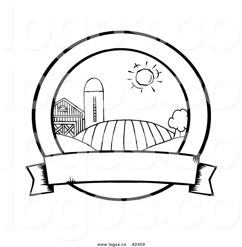 1024x1044 Royalty Free Outline Of Farm With A Blank Banner By Hit Toon