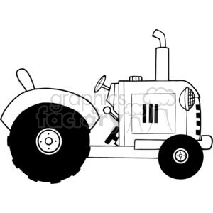 300x300 Royalty Free Vintage Farm Tractor Bw 379470 Vector Clip Art Image