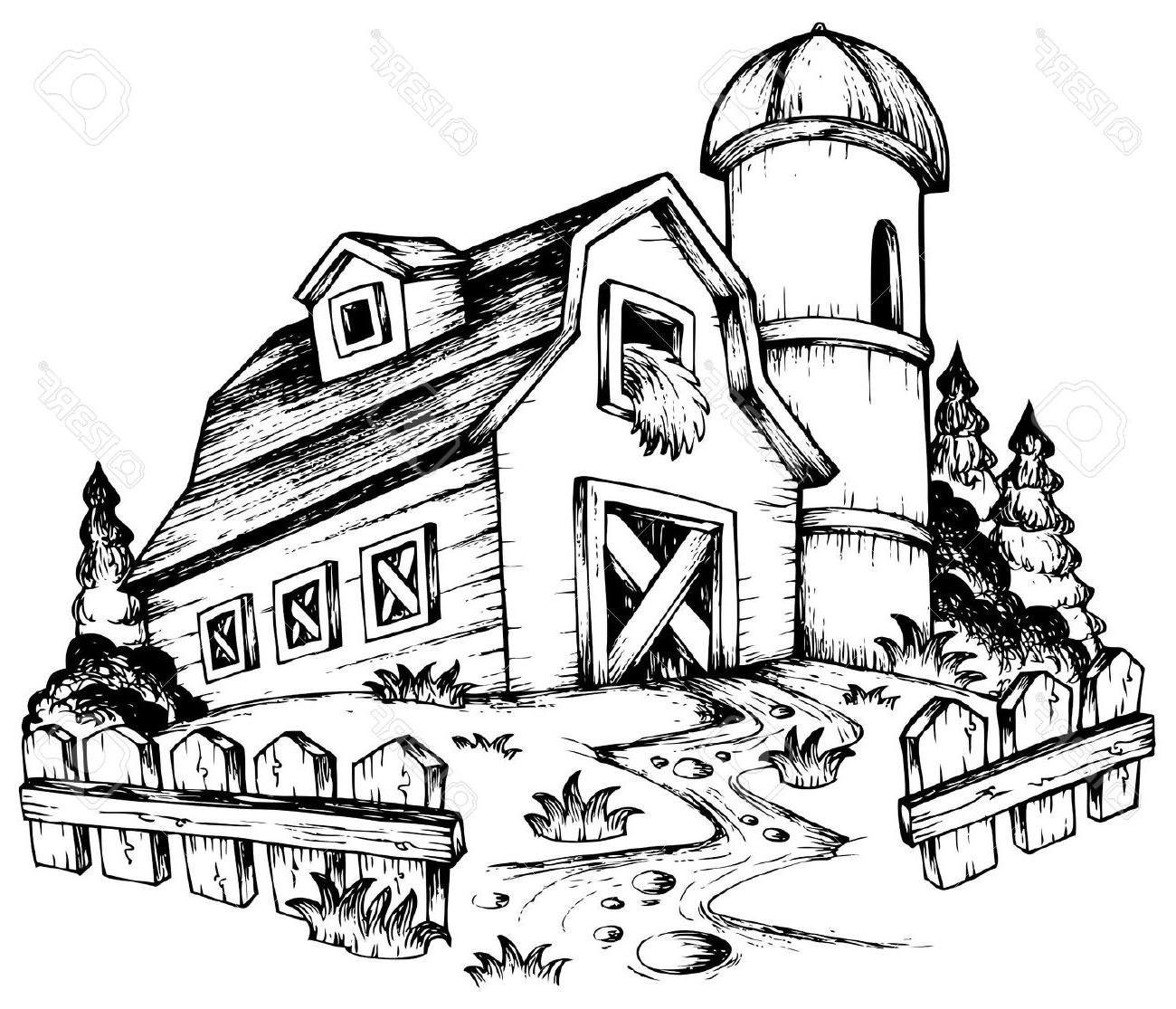 1300x1115 Top Farm Theme Drawing House Barn Clipart Black And Photos