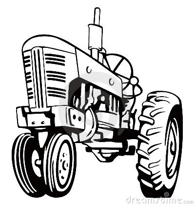 400x422 Tractor Clipart Black And White