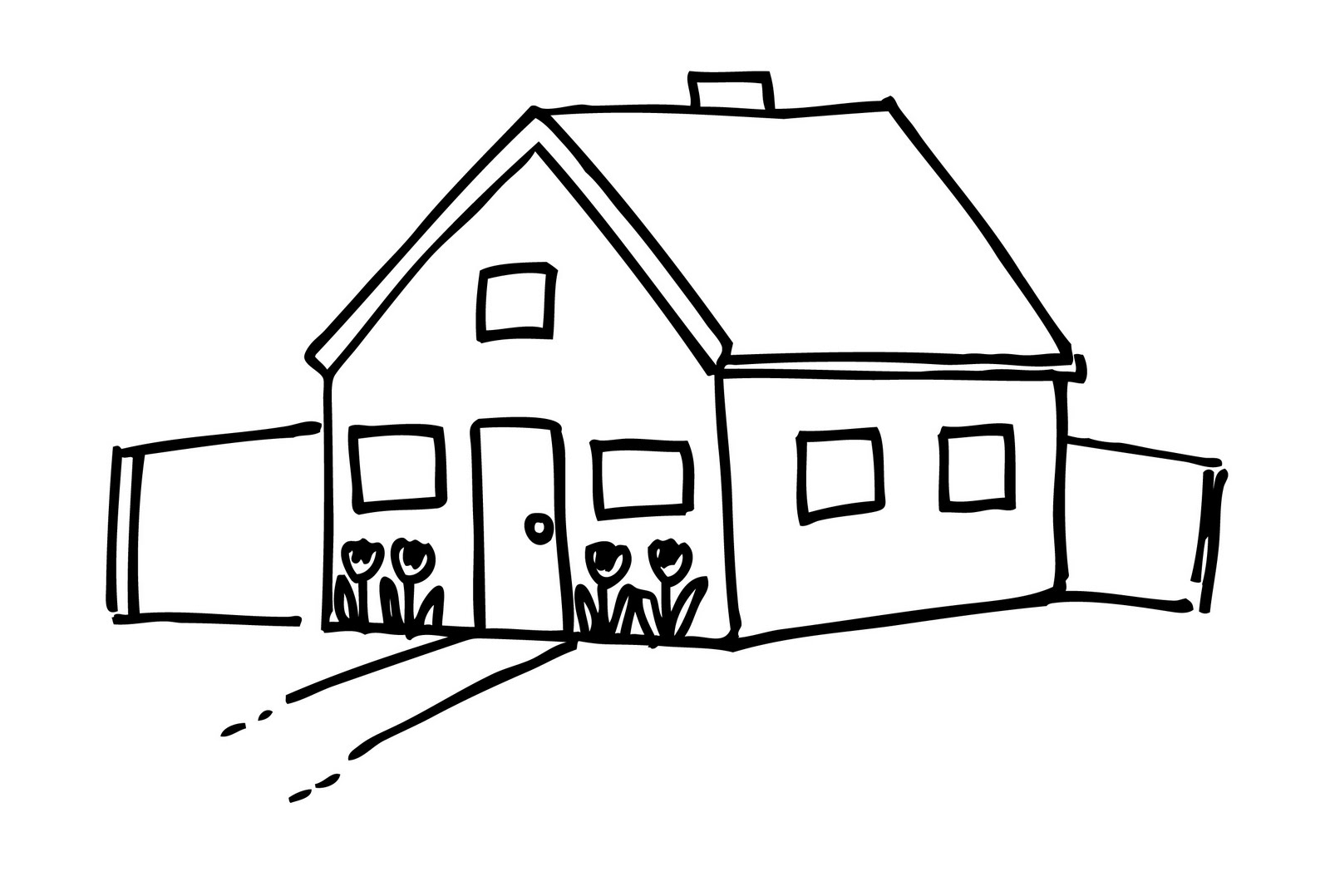 1600x1078 House Clipart Black And White