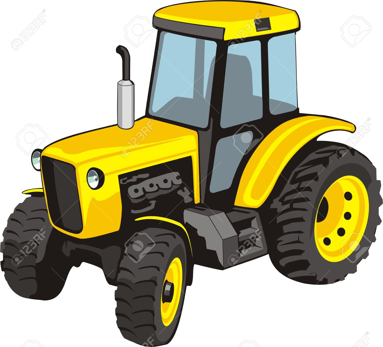1300x1179 Old Yellow Tractor For Agricultural Works Royalty Free Cliparts