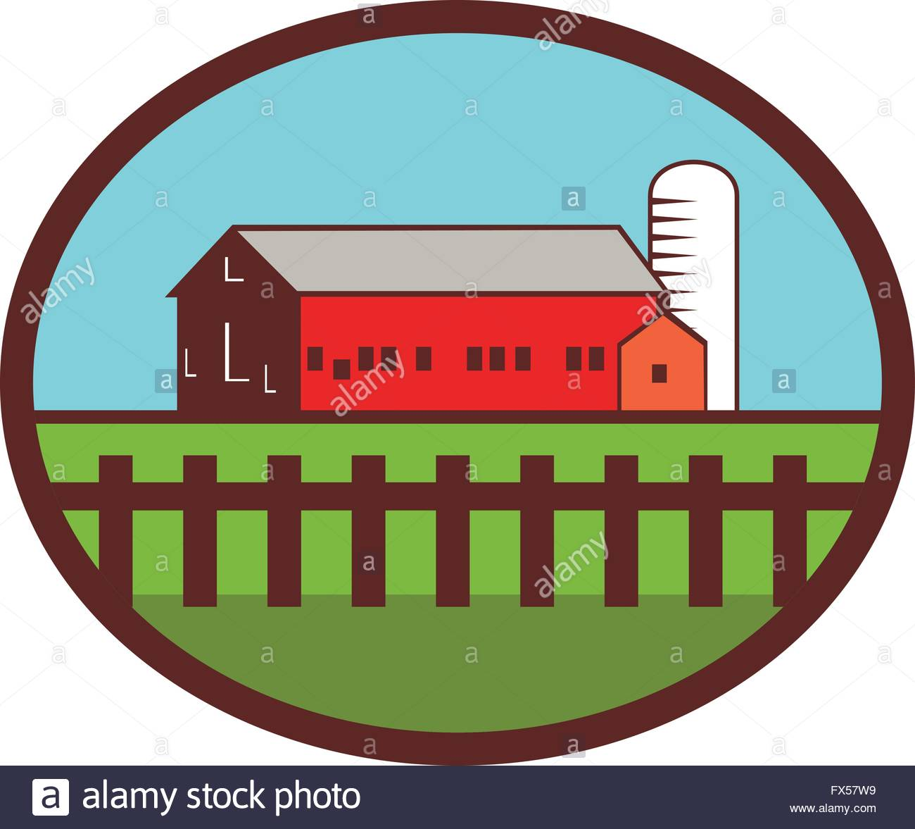 1300x1177 Illustration Of A Farm House Barn And Silo With Fence Set Inside