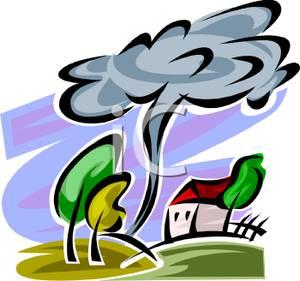 300x281 Tornado Hear A Farm House Clipart Image