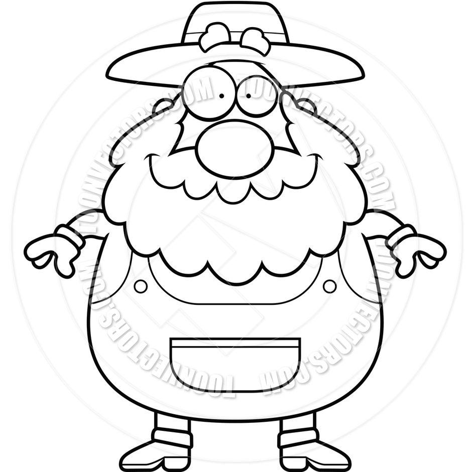 940x940 Farmer Smiling (Black And White Line Art) By Cory Thoman Toon