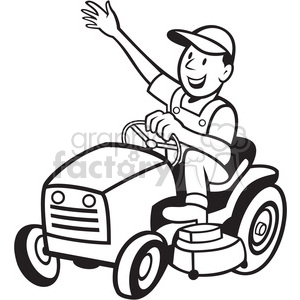 300x300 Royalty Free Black And White Farmer Riding Tractor Mower 387886