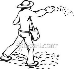 300x278 And White Drawing Of A Farmer Throwing Chicken Feed