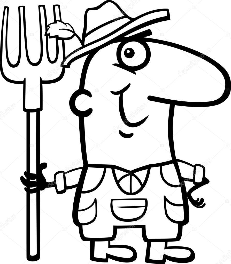 894x1023 Farmer Cartoon Coloring Book Stock Vector Izakowski