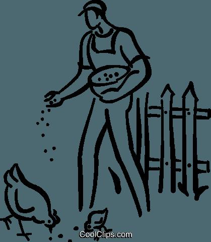 419x480 Farmer Feeding The Chickens Royalty Free Vector Clip Art