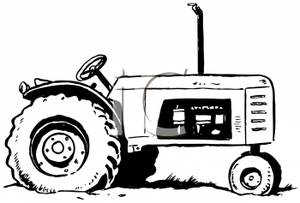 300x203 Black And White Farming Tractor Clip Art Image