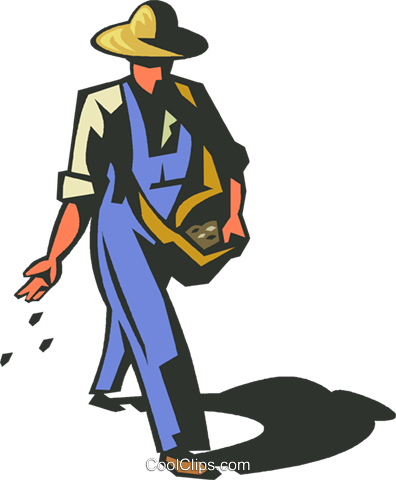396x480 Farmer Planting Seeds Royalty Free Vector Clip Art Illustration