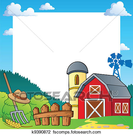 450x458 Clipart Of Farm Theme Frame 1 K9390872