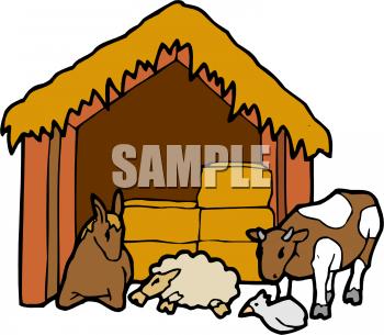 350x305 Royalty Free Manger Clip Art, Farm Buildings Clipart