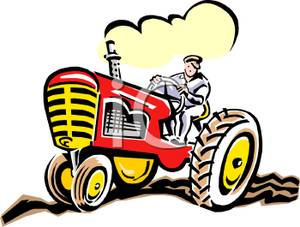 300x227 Farmer In A Red Tractor Clip Art Image