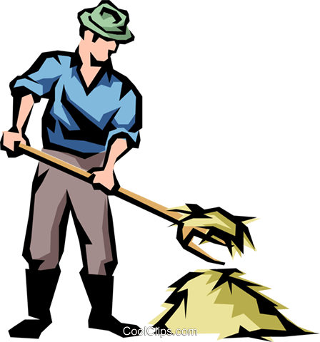448x480 Farmer With Pitch Fork And Hay Royalty Free Vector Clip Art