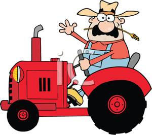 300x266 Free Clipart Image A Farmer On A Tracter