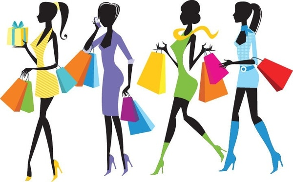 600x373 Fashion Shopping Girls Illustration Free Vector In Encapsulated