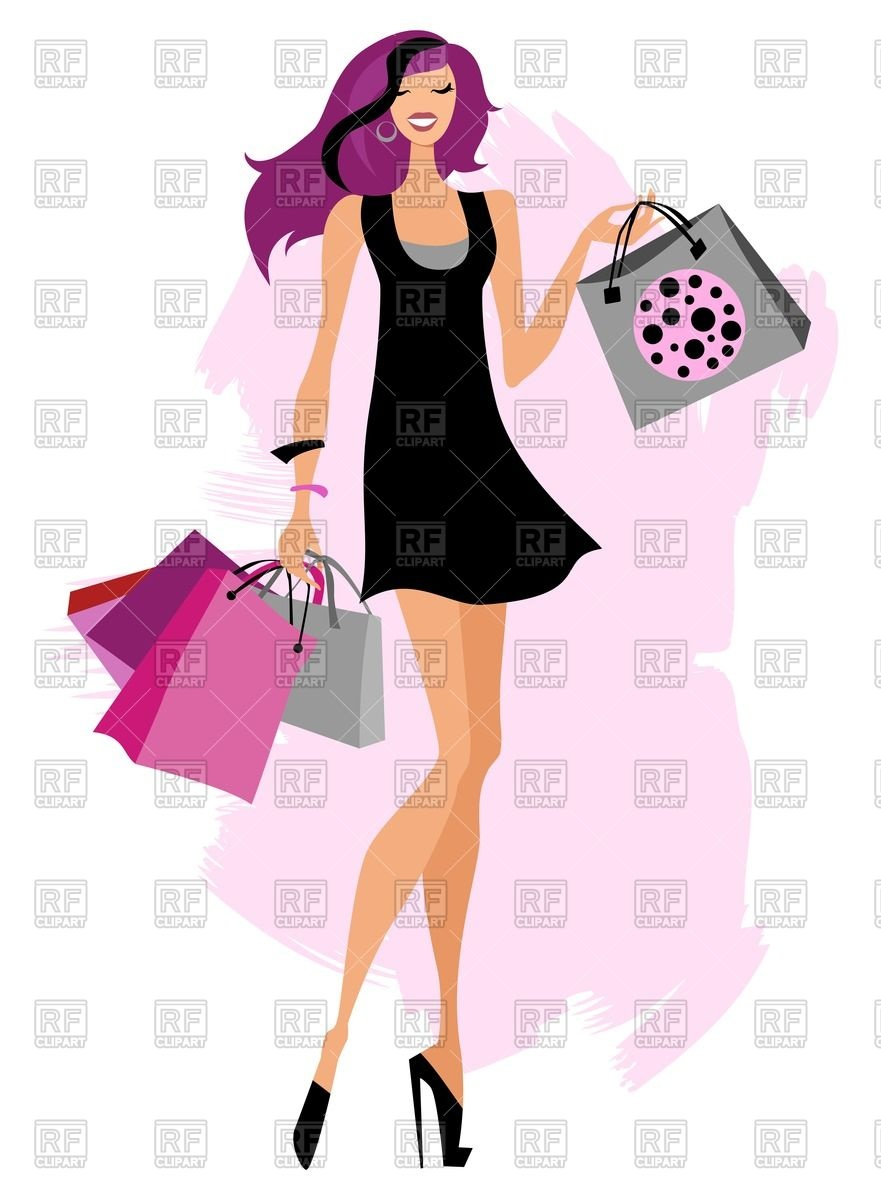 881x1200 Fashion Girl With Shopping Bags Royalty Free Vector Clip Art Image