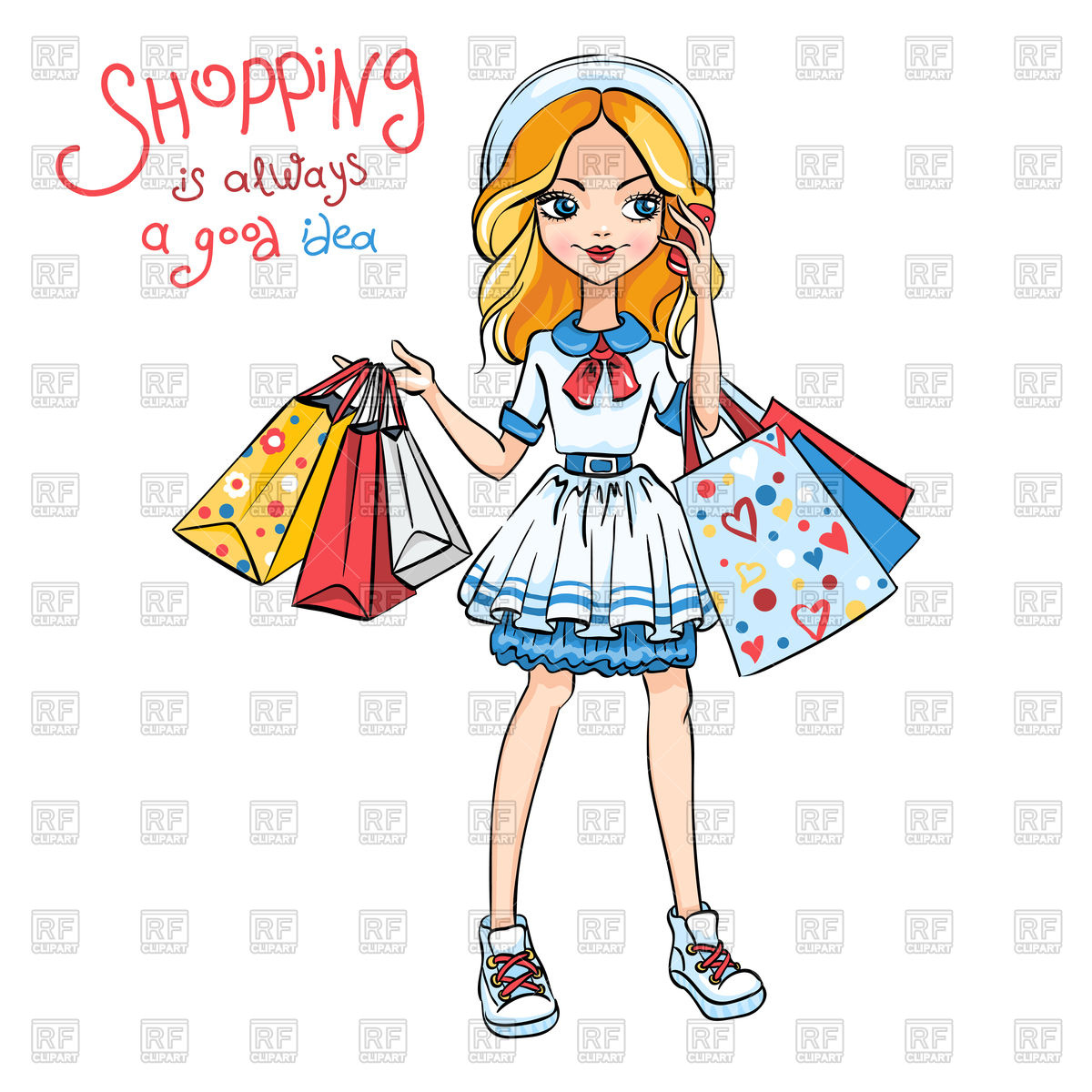 1200x1200 Cute Fashion Girl In Dress And Hat With Shopping Royalty Free