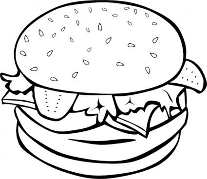 425x368 Black Clipart Hamburger