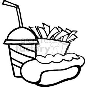 300x300 Royalty Free In Black And White Hot Dog Drink And French Fries