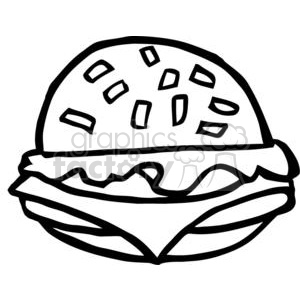 300x300 Royalty Free Black And White Fast Food Cheeseburger 378974 Vector