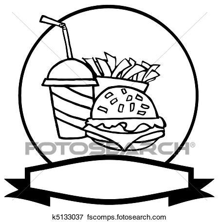 450x456 Clip Art Of Outlined Fast Food Logo K5133037