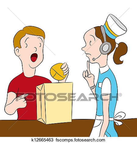 450x470 Clipart Of Fast Food Order Error K12665463