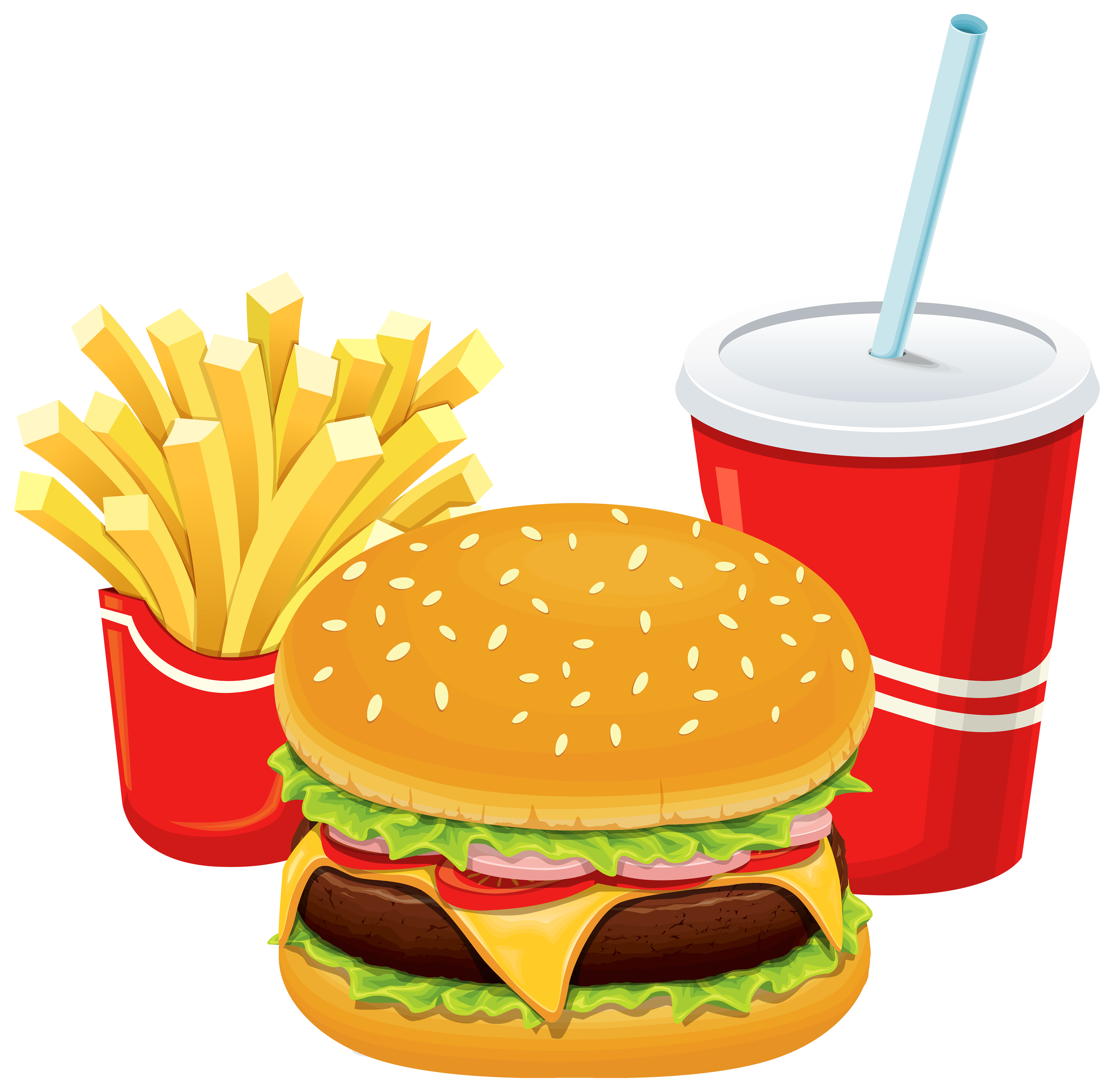 4000x3921 Hamburger Fries And Cola Png Clipart